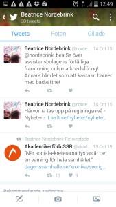 Screenshot från Beatrices twitter.